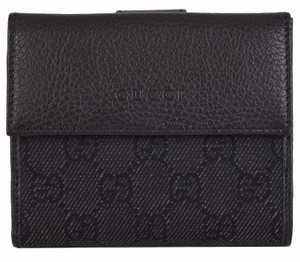 Gucci NEW Gucci Women's 143387 Black Denim and Leather GG Guccissima Wallet