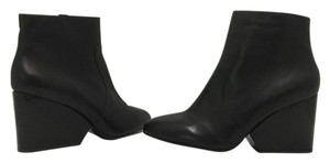 Robert Clergerie Wedge High Heels Ankle Zip Black Leather Boots