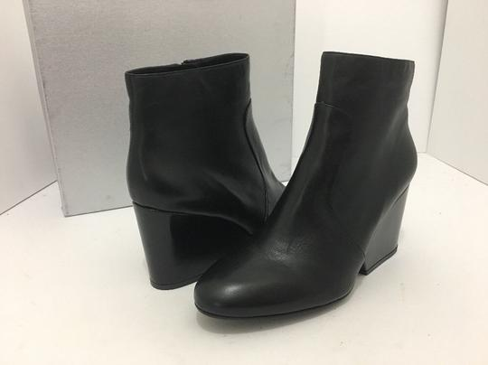 Robert Clergerie Wedge High Heels Ankle Zip Black Leather Boots Image 1
