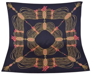Gucci New Gucci 325751 Black Golden Chain Silk Twill Square Scarf 35 x 35
