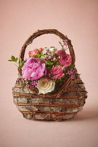 BHLDN Brown Wood/Bark Woodland Flower Girl Basket