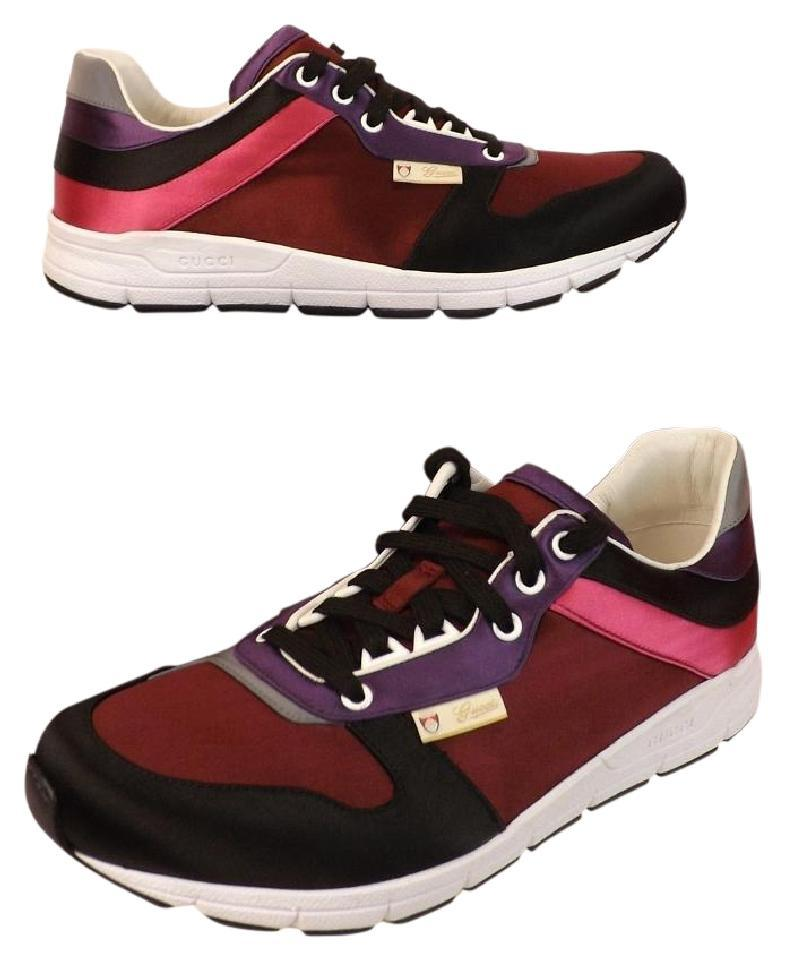 62b53fdd1 Gucci Multi-color Ipanema Mens Burgundy Purple Satin Lace Running Sneakers  10 11 #336613 Shoes