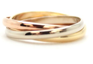 Cartier #11662 18K Trinity white yellow rose pink gold ring size 51