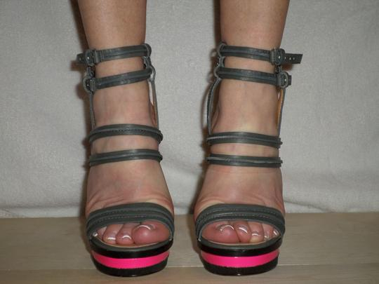 L.A.M.B. Sexy High Heel Straps Buckles Gray with Pink Platforms