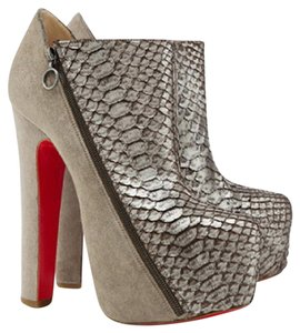 Christian Louboutin Ankle Hidden Platform Thigh High Over Knee Gray Bronze Boots
