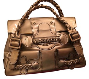 Valentino Histoire Patent Leather Satchel in Gold
