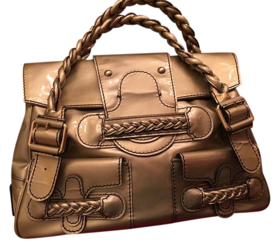f5e53d150d9 Valentino Histoire Patent Leather Satchel in Gold Image 0 ...