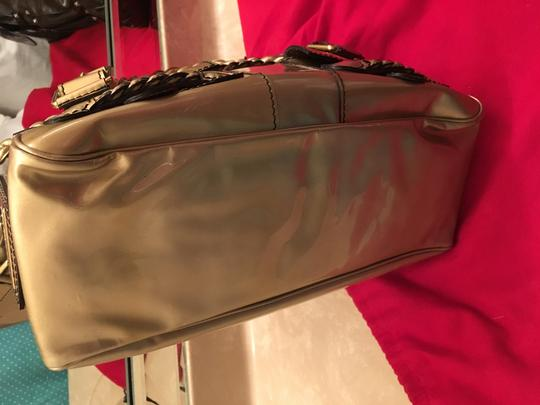 Valentino Histoire Patent Leather Satchel in Gold Image 4