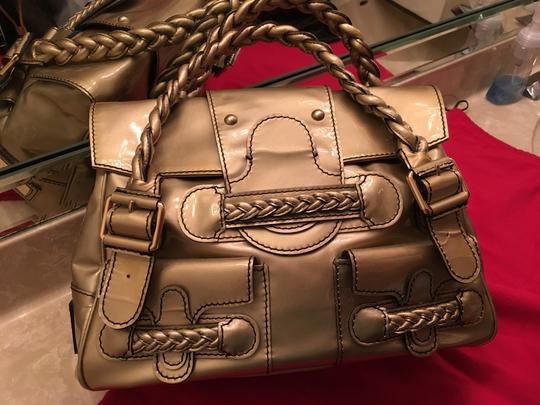 Valentino Histoire Patent Leather Satchel in Gold Image 8