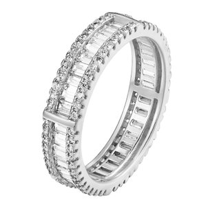 Other Eternity Engagement Band 925 Sterling Silver Lab Diamonds Wedding Ring