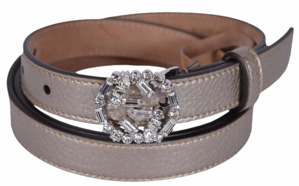 7094ce5e2 Gucci New Gucci Women's Golden Beige Leather Swarovski Crystal GG Belt 36  90 Image 7. 12345678