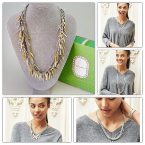 Stella & Dot Freya Fringe Statement Necklace Mix Metal