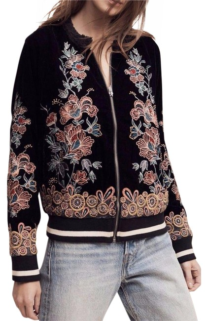 Item - Multicolor Embroidered Velvet Bomber S By Elevenses Jacket Size 6 (S)