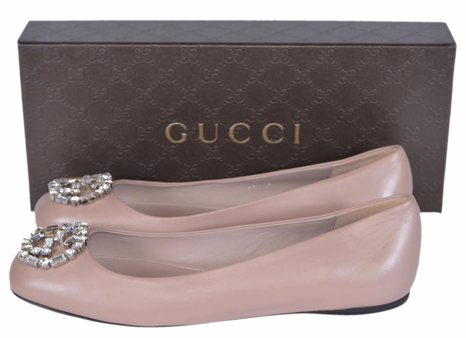 gucci cipria new women 39 s pink leather gg crystal ballerina flats flats on sale. Black Bedroom Furniture Sets. Home Design Ideas
