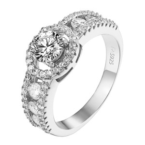 Other Sterling Silver Wedding Ring Solitaire Halo CZ Engagement Bridal