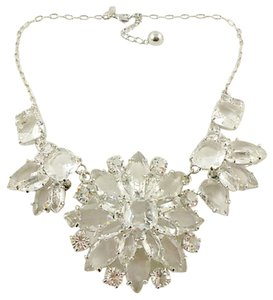 Kate Spade AMAZING CRYSTAL GRAND FLORAL STATEMENT NECKLACE IN SILVER