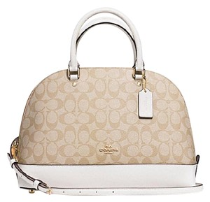 Coach Satchel in Gold/Chalk khaki