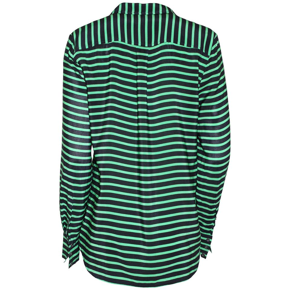 Pre Owned Factory >> J Crew Black Green Stripes Pre Owned Factory Silk Popover Blouse Size 8 M 69 Off Retail