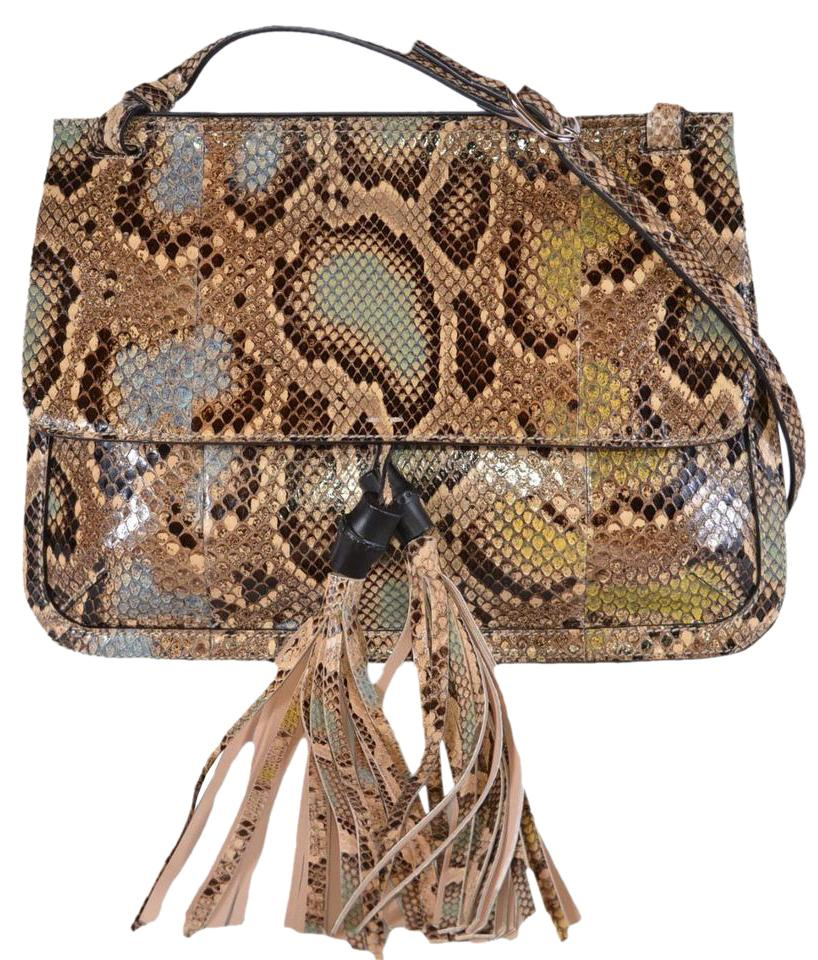 9e41cafd0204 Gucci New Women s 370826 Snakeskin Bamboo Daily Flap Purse ...
