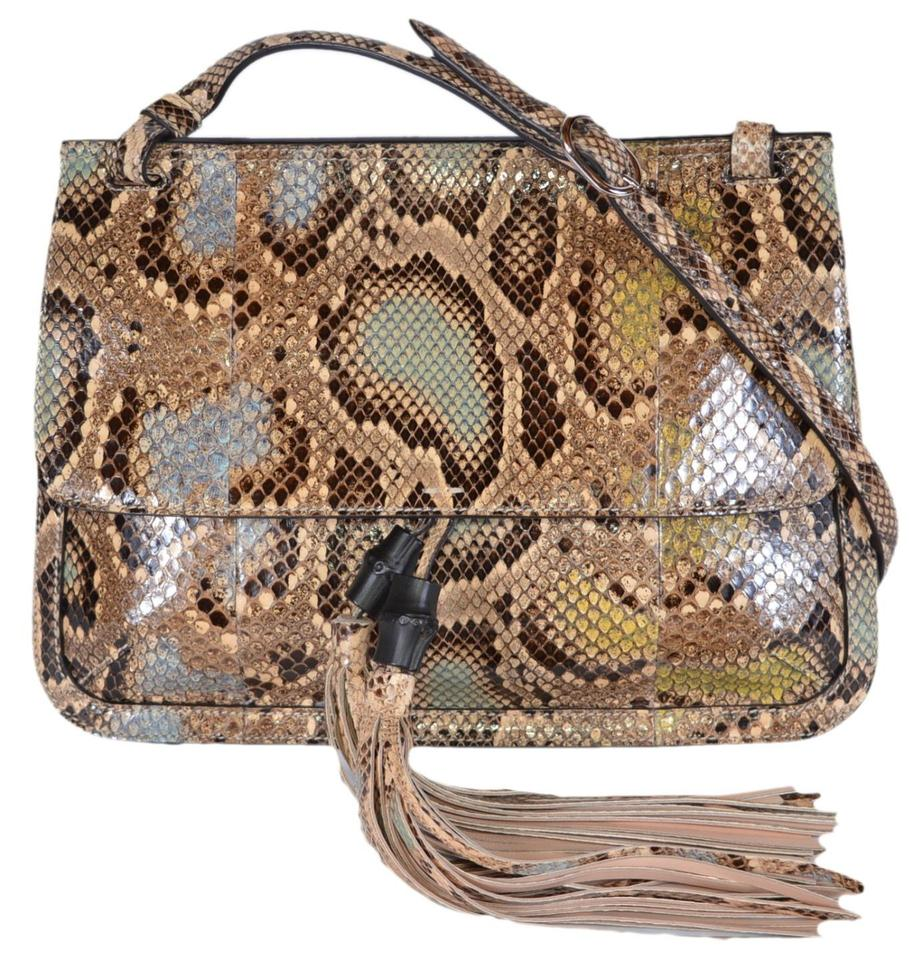 a94c72a63e7 Gucci New Women's 370826 Snakeskin Bamboo Daily Flap Purse ...