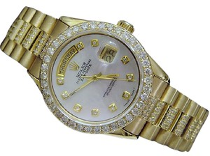 Rolex Mens Rolex 18K Gold Day-Date President Full Diamond MOP 1803