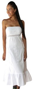 Lirome short dress White Embroidered Boho Crochet on Tradesy