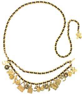 Chanel #11688 RARE CC long double chain gold multicharm necklace belt two way