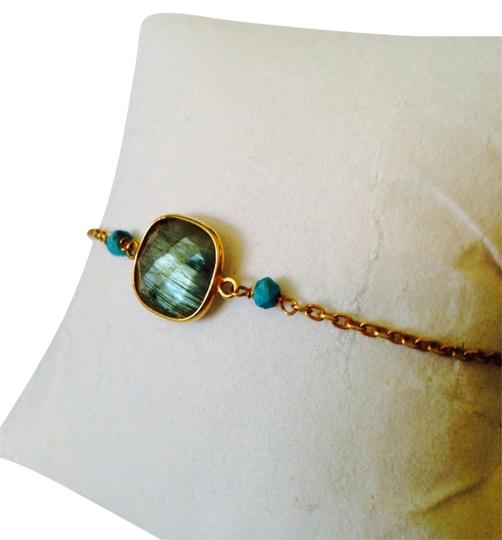 Preload https://item4.tradesy.com/images/bluegold-faceted-labradorite-cushion-cut-and-turquoise-bracelet-2130768-0-0.jpg?width=440&height=440