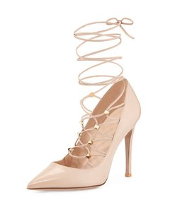 Valentino Studded Rockstud Lace Up Beige Pumps