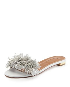Aquazzura Wild Thing Fringed Sandals White Flats