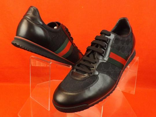 Gucci Black Mens Guccissima Canvas Leather Strip Sneakers 14.5/ 15.5 237715 Shoes Image 1