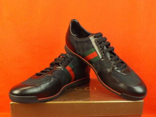 Gucci Black Mens Guccissima Canvas Leather Strip Sneakers 14.5/ 15.5 237715 Shoes Image 3