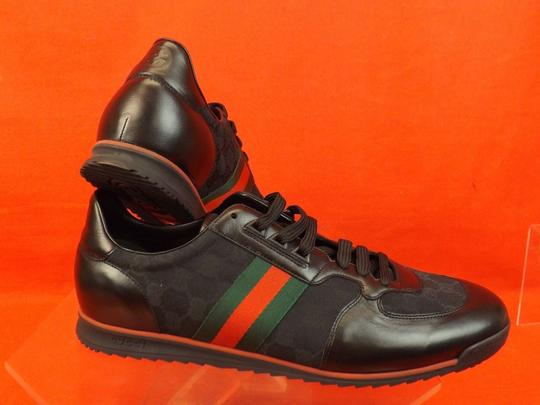 Gucci Black Mens Guccissima Canvas Leather Strip Sneakers 14.5/ 15.5 237715 Shoes Image 4