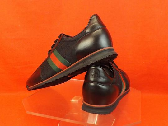 Gucci Black Mens Guccissima Canvas Leather Strip Sneakers 14.5/ 15.5 237715 Shoes Image 5