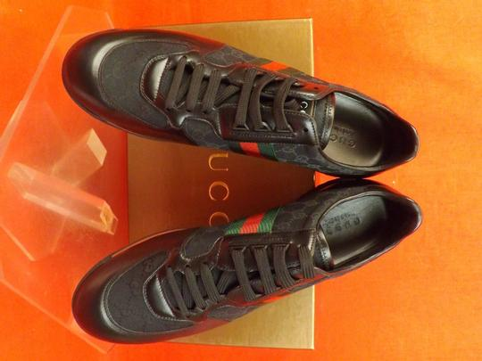 Gucci Black Mens Guccissima Canvas Leather Strip Sneakers 14.5/ 15.5 237715 Shoes Image 6