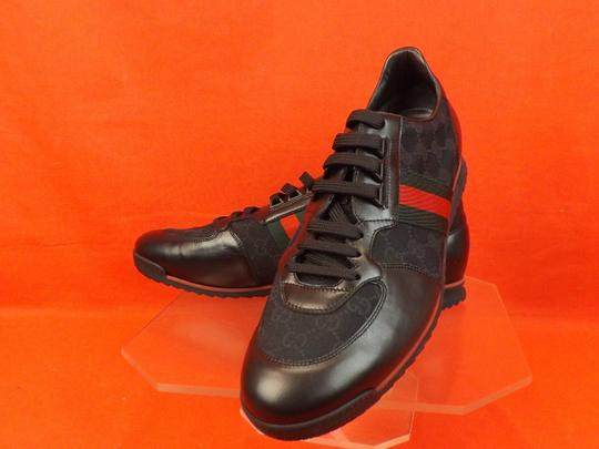 Gucci Black Mens Guccissima Canvas Leather Strip Sneakers 14.5/ 15.5 237715 Shoes Image 7