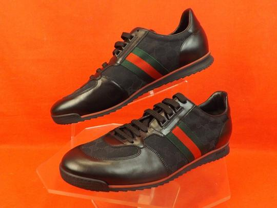 Gucci Black Mens Guccissima Canvas Leather Strip Sneakers 14.5/ 15.5 237715 Shoes Image 8