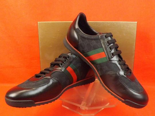Gucci Black Mens Guccissima Canvas Leather Strip Sneakers 14.5/ 15.5 237715 Shoes Image 9