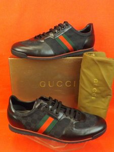 Gucci Black Mens Guccissima Canvas Leather Strip Sneakers 13.5 14.5 237715 Shoes
