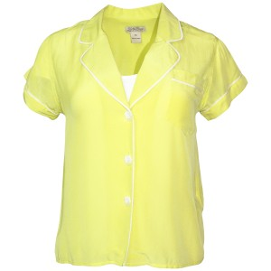 Lucky Brand Pajama Shirt Silk Dry Clean Button Button Down Shirt Bright Lime