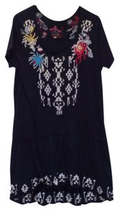 Johnny Was short dress black Short Sleeve Scoop Neck Cotton Embroidered on Tradesy