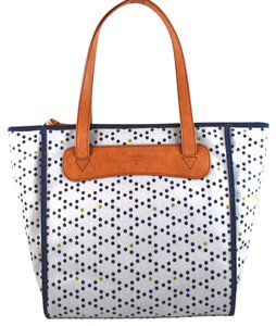 Fossil Tote in blue dots