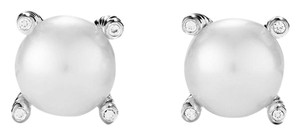 David Yurman Pearl Earrings with Diamonds 9mm