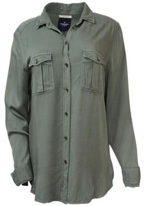 American Eagle Outfitters Shirt Boyfriend Fit Viscose Button Down Shirt Army Green