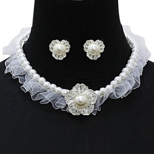 Bridal Wedding Evening Crystal Flower Pearl Fabric Necklace And Earring