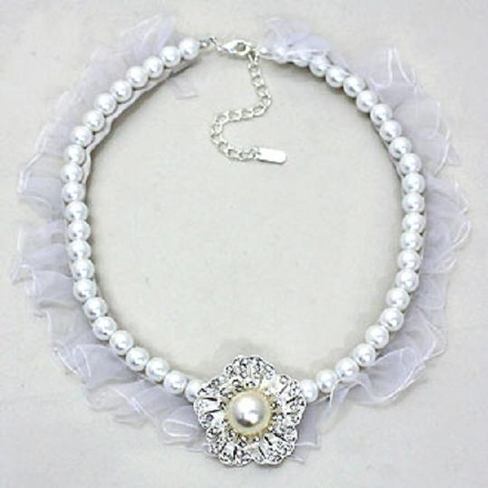 Other Bridal Wedding Evening Crystal Flower Pearl Fabric Necklace And Earring