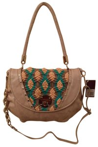 Elliott Lucca Ona Leather Crocheted Crochet Handbag Cream Green Yellow Brown Shoulder Bag