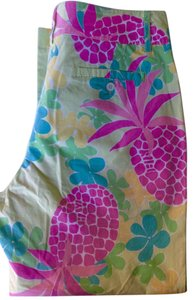 Lilly Pulitzer Bright Pink Capris Multi Color Pineapple