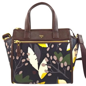 Fossil Satchel in black florals