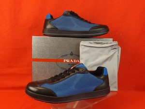Prada Blue Mens Sport Mesh and Black Rete Sailing Lace Up Sneakers 7.5 8.5 Shoes